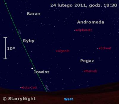 Położenie Jowisza  w czwartym tygodniu lutego 2011