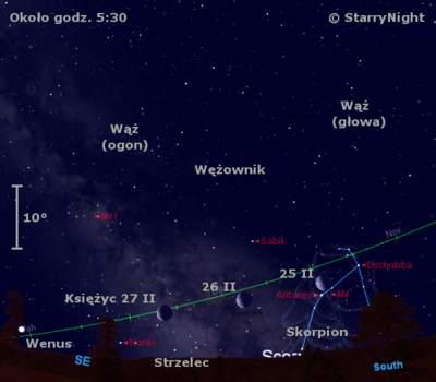 Położenie Księżyca i Wenus w czwartym tygodniu lutego 2011