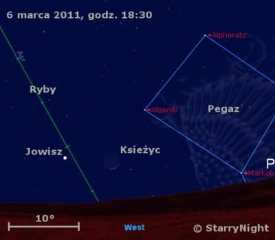Położenie Księżyca iJowisza wpierwszym tygodniu marca 2011
