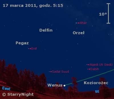 Położenie Wenus wtrzecim tygodniu marca 2011