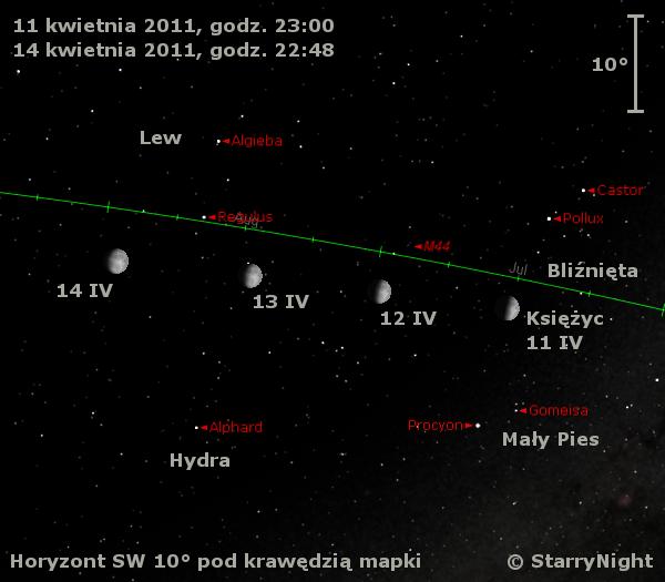 Położenie Księżyca pod koniec drugiego tygodnia kwietnia 2011