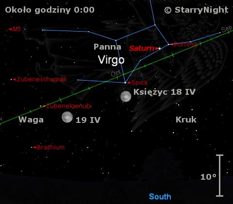 Położenie Saturna w trzecim tygodniu kwietnia 2011