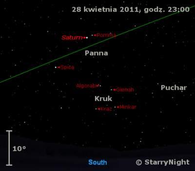 Położenie Saturna wczwartym tygodniu kwietnia 2011