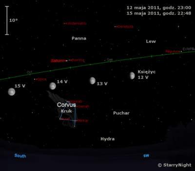 Położenie Księżyca wkońcu drugiego tygodnia maja 2011