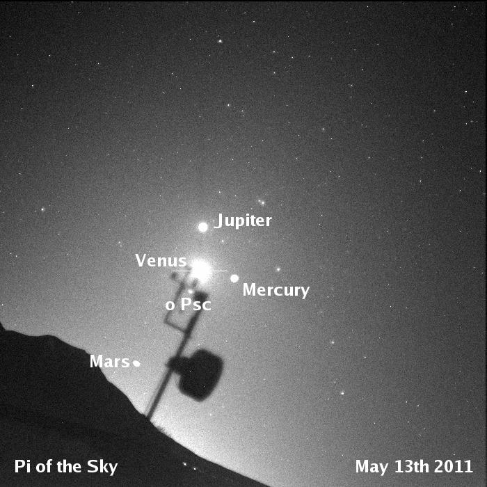 Widok 4 planet na porannym niebie z Chile