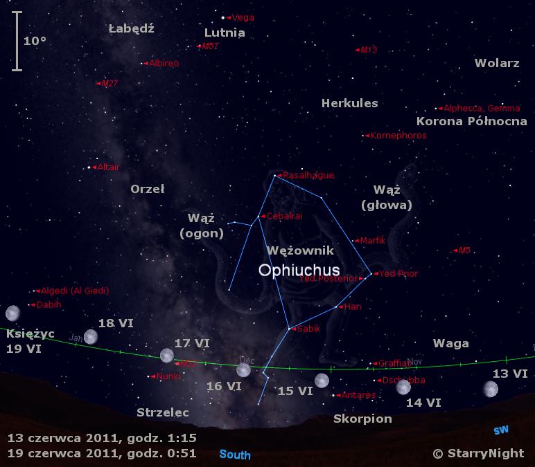 Położenie Księżyca w trzecim tygodniu czerwca 2011
