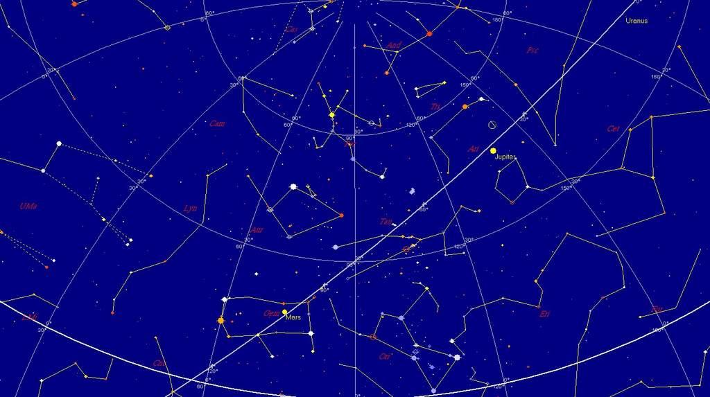 Niebo nad wschodnim horyzontem, 20 sierpnia 2011, godzina 3:30