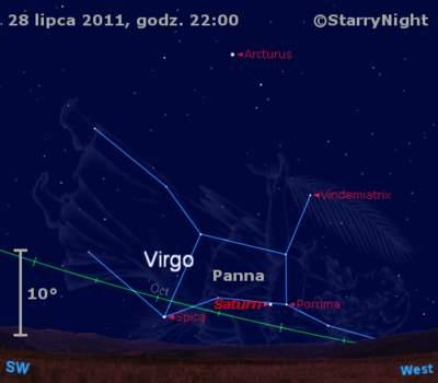 Położenie Saturna wostatnim tygodniu lipca 2011