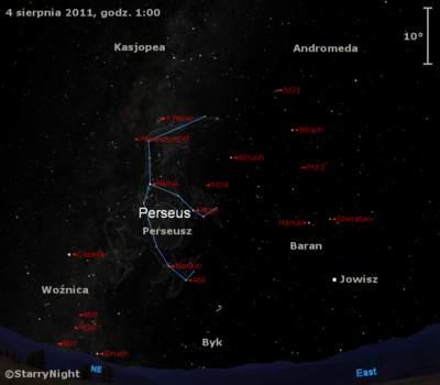 Położenie radiantu Perseidów wpierwszym tygodniu sierpnia 2011
