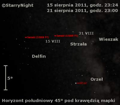 Położenie komety Garradda w trzecim tygodniu sierpnia 2011