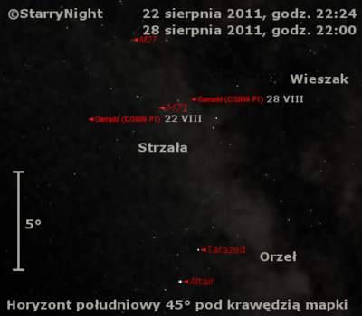Położenie komety Garradda wczwartym tygodniu sierpnia 2011