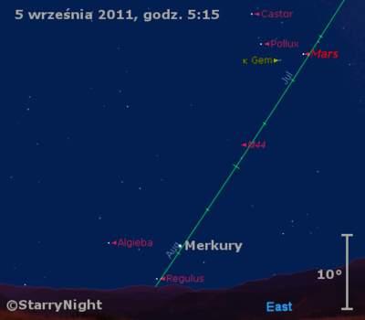 Położenie Merkurego wdrugim tygodniu września 2011