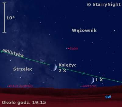 Położenie Księżyca na początku października 2011
