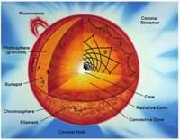 Wnętrze gwiazdy oraz dwa typy fal w niej występujących (grawitacyjne i ciśnieniowe).