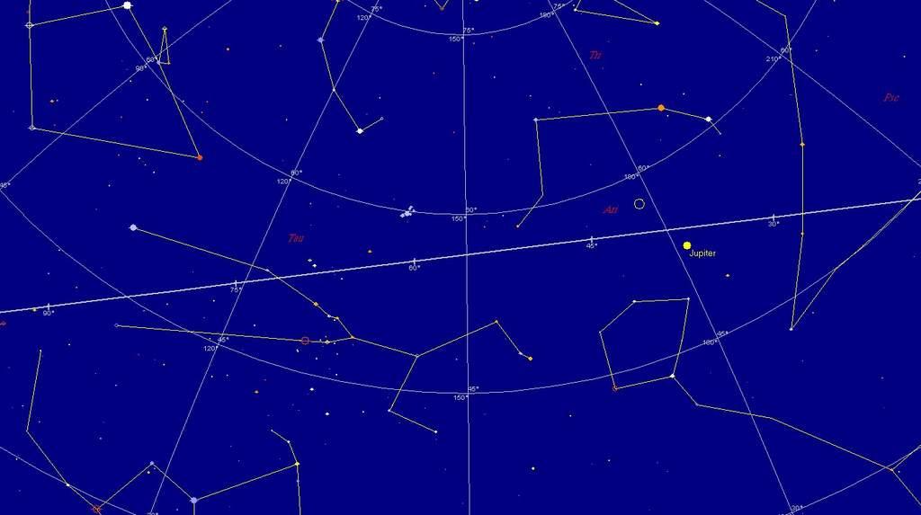 Jowisz i Księżyc, 14 października 2011, godzina 1:40