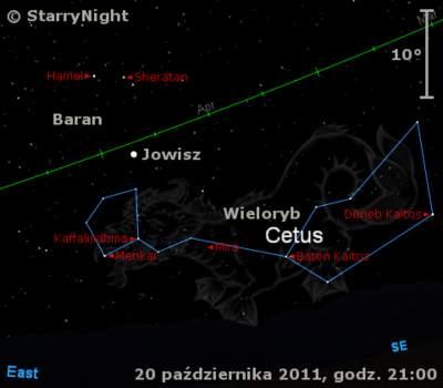 Położenie Jowisza wtrzecim tygodniu października 2011