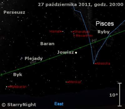Położenie Jowisza w czwartym tygodniu października 2011