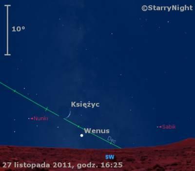 Położenie Wenus wniedzielę 27 listopada 2011