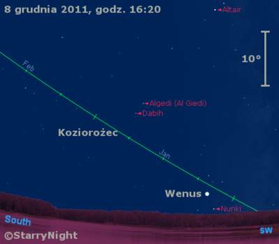 Położenie Wenus wdrugim tygodniu grudnia 2011