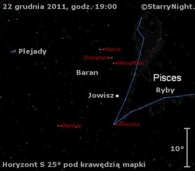 Położenie Jowisza wczwartym tygodniu grudnia 2011