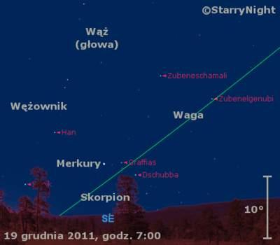 Położenie Merkurego iKsiężyca wczwartym tygodniu grudnia 2011