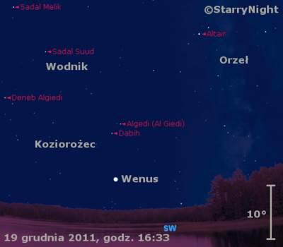 Położenie Wenus wczwartym tygodniu grudnia 2011