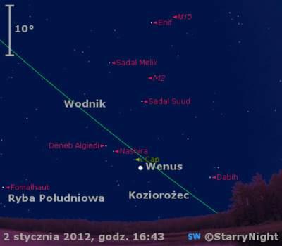 Położenie Wenus w pierwszym tygodniu stycznia 2012