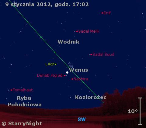 Położenie Wenus w drugim tygodniu stycznia 2012