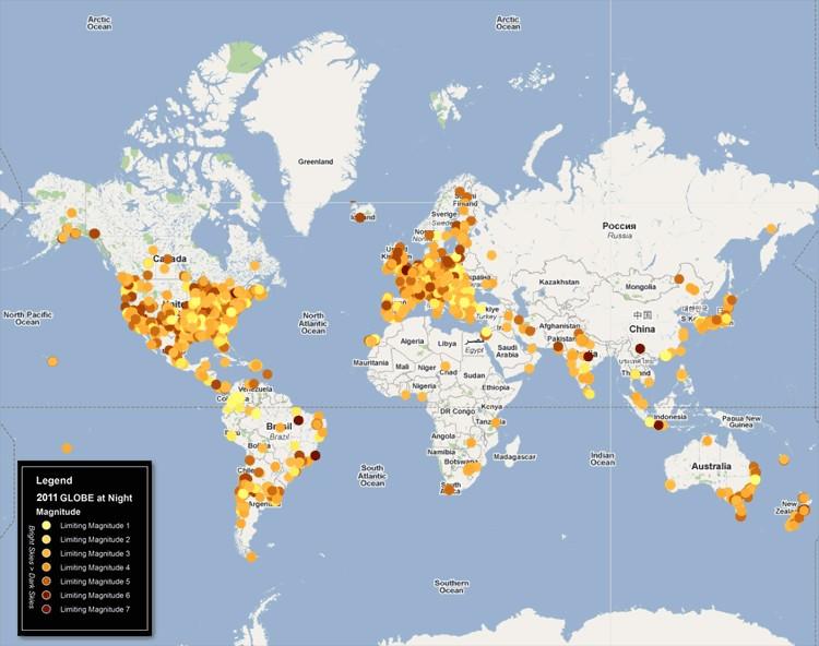 GLOBE at Night 2011 - mapa
