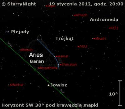 Położenie Jowisza wtrzecim tygodniu stycznia 2012 roku