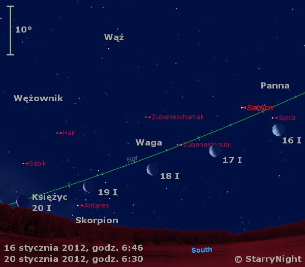 Położenie Księżyca i Saturna w trzecim tygodniu stycznia 2012