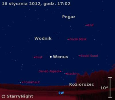 Położenie Wenus wtrzecim tygodniu stycznia 2012