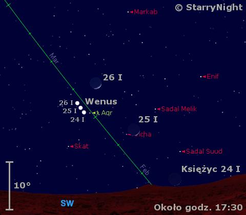 Położenie Księżyca i Wenus w czwartym tygodniu stycznia 2012