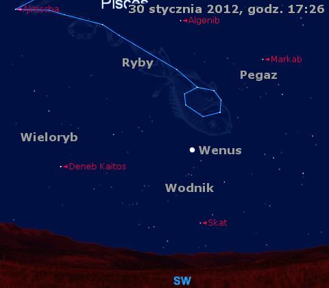 Animacja położenia Wenus w pierwszym tygodniu lutego 2012