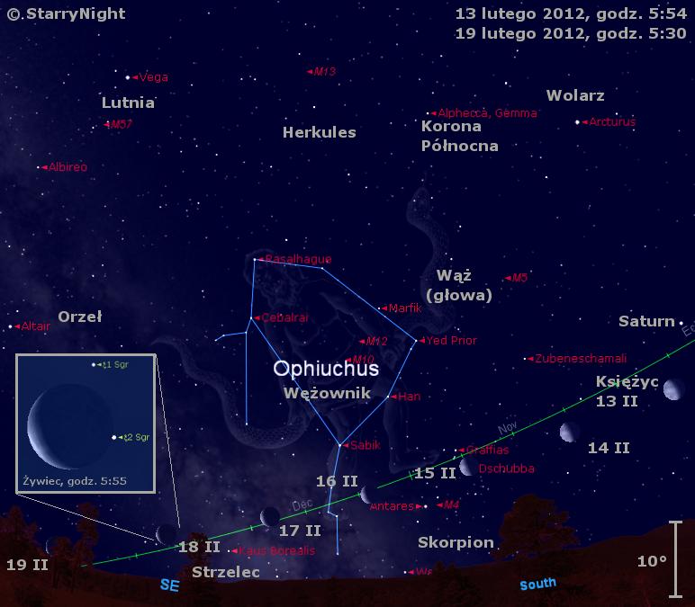 Położenie Księżyca w trzecim tygodniu lutego 2012