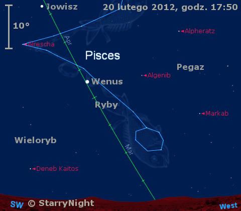 Położenie Wenus, Jowisza i Księżyca w trzecim tygodniu lutego 2012 r.