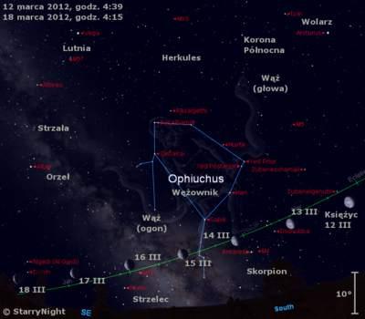 Położenie Księżyc na początku drugiej dekady marca 2012 r.