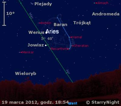 Położenie Wenus, Jowisza iKsiężyca wtrzecim tygodniu marca 2012 r.
