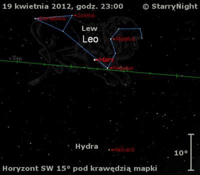 Położenie Marsa wtrzecim tygodniu kwietnia 2012 r.