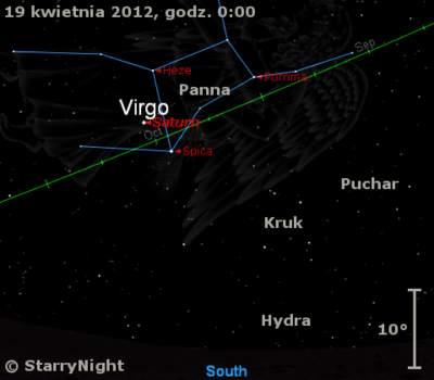 Położenie Saturna wtrzecim tygodniu kwietnia 2012 r.
