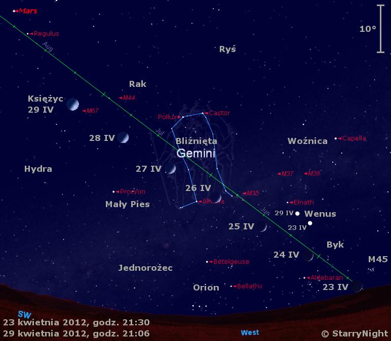 Położenie Księżyca i Wenus w czwartym tygodniu kwietnia 2012