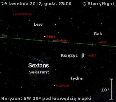 Położenie Marsa wczwartym tygodniu kwietnia 2012 r.