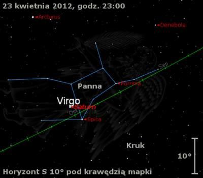Położenie Saturna wczwartym tygodniu kwietnia 2012 r.