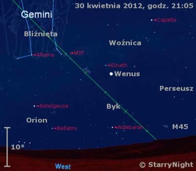 Położenie Wenus wpierwszym tygodniu maja 2012