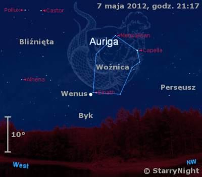 Położenie Wenus wdrugi`m tygodniu maja 2012