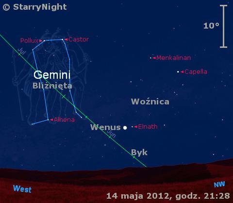 Położenie Wenus w trzecim tygodniu maja 2012