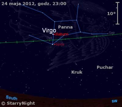 Położenie Saturna wczwartym tygodniu maja 2012 r.
