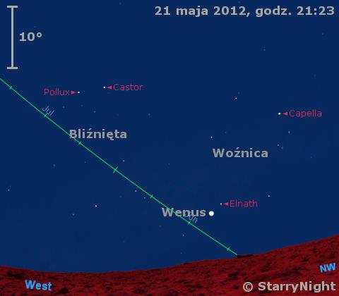 Położenie Wenus i Księżyca w czwartym tygodniu maja 2012