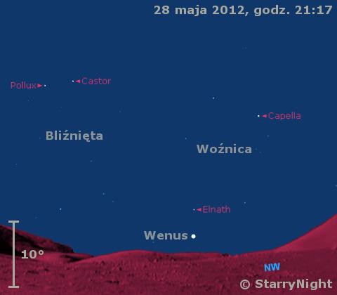 Położenie Wenus i Merkurego w końcu maja 2012 r,