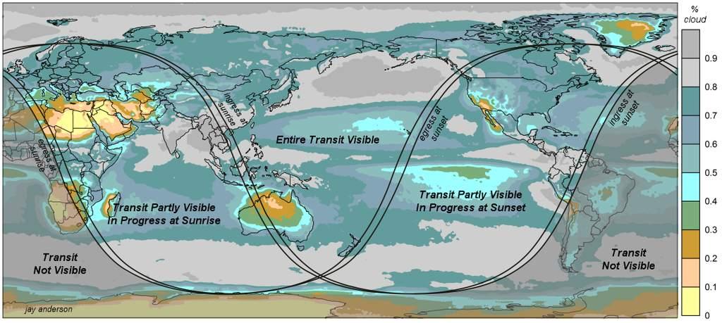 Średnie zachmurzenie wczasie przejścia Wenus w2012 r.